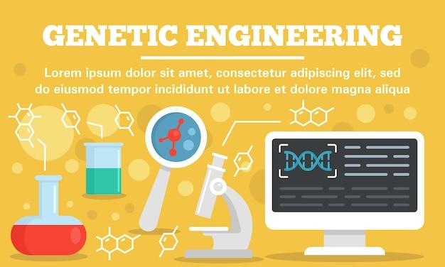 Sjabloon voor spandoek genetische manipulatie concept lab, vlakke stijl Premium Vector