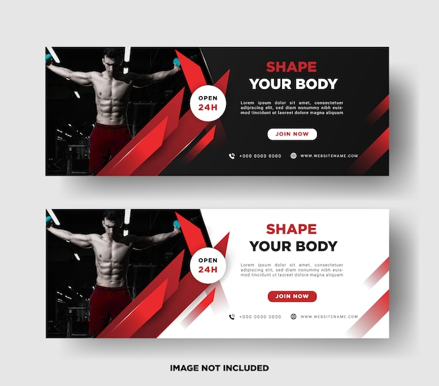 Sjabloon voor spandoek. gym promotie Premium Vector