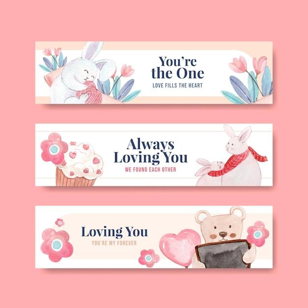 Sjabloon voor spandoek met liefdevolle je conceptontwerp voor adverteren en marketing aquarel illustratie Gratis Vector