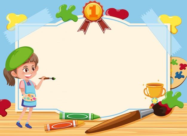 Sjabloon voor spandoek met meisje tekening foto op het bord Premium Vector