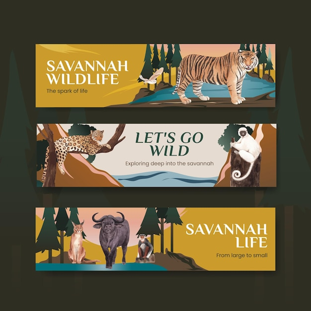 Sjabloon voor spandoek met savanne wildlife concept aquarel illustratie Premium Vector