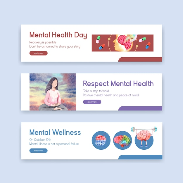 Sjabloon voor spandoek met wereld geestelijke gezondheid dag conceptontwerp voor adverteren en marketing aquarel vector illustraion. Gratis Vector