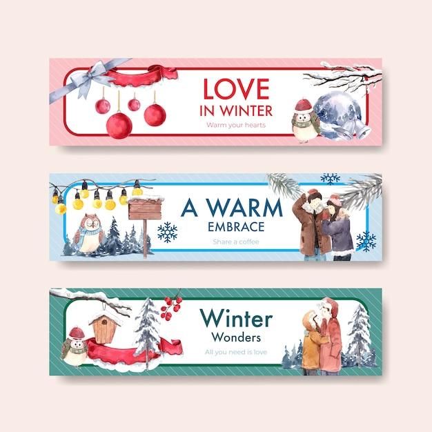 Sjabloon voor spandoek met winter liefde conceptontwerp voor adverteren en marketing aquarel vectorillustratie Gratis Vector