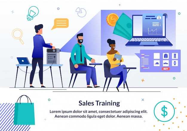 Sjabloon voor spandoek online verkoop business training Premium Vector