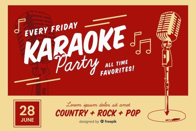 Sjabloon voor spandoek retro karaoke-partij Gratis Vector