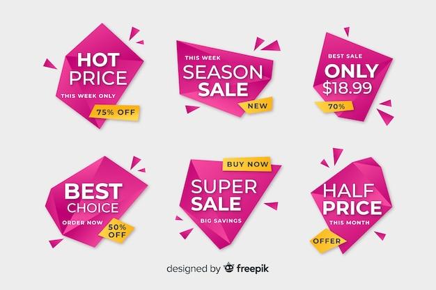 Sjabloon voor spandoek roze geometrische verkoop Gratis Vector