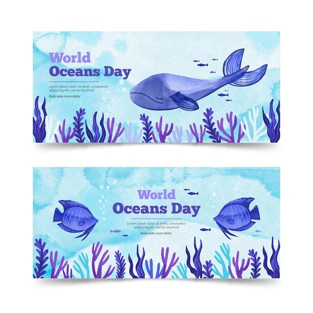 Sjabloon voor spandoek van aquarel wereld oceanen dag Gratis Vector