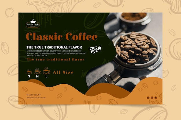 Sjabloon voor spandoek van coffeeshop Gratis Vector