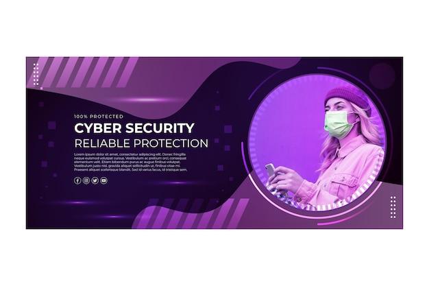 Sjabloon voor spandoek van cyberbeveiliging Gratis Vector