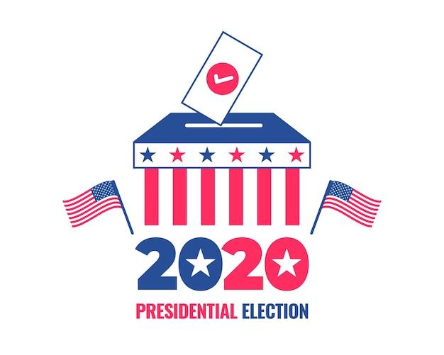 Sjabloon voor spandoek van de amerikaanse presidentsverkiezingen 2020 met een stembus Premium Vector