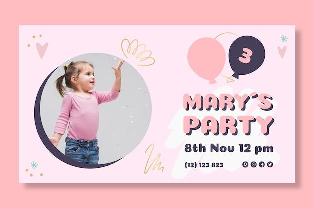 Sjabloon voor spandoek van de verjaardag van kinderen Premium Vector