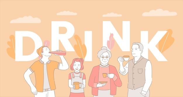 Sjabloon voor spandoek van drinken woord concept. mensen die koffie, thee en frisdrank drinken. Premium Vector