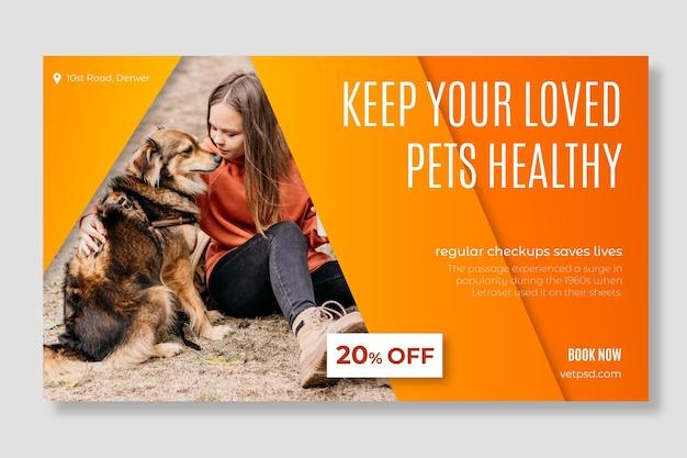 Sjabloon voor spandoek van gezonde huisdieren veterinaire kliniek Gratis Vector