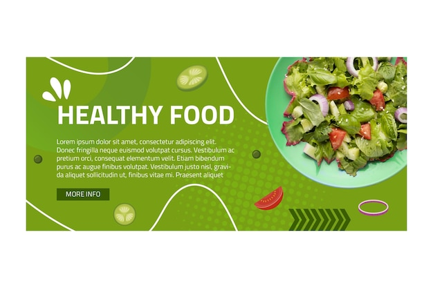 Sjabloon voor spandoek van gezonde voeding met foto Premium Vector