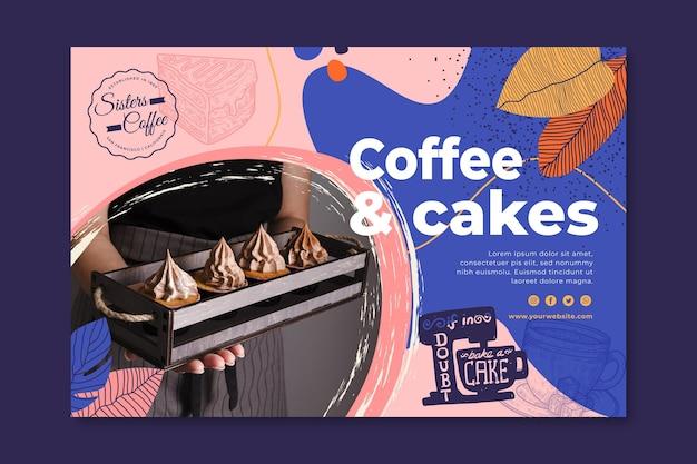 Sjabloon voor spandoek van koffie en gebak Gratis Vector