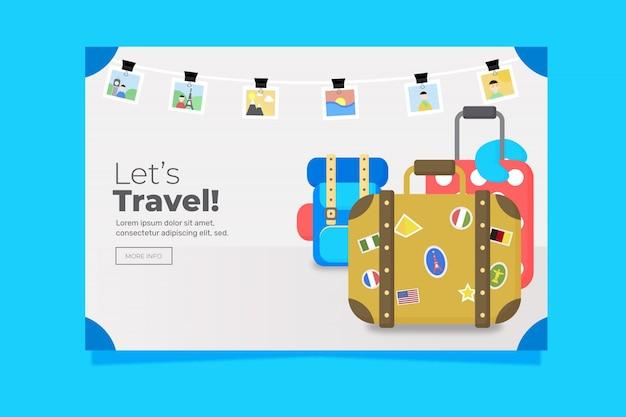 Sjabloon voor spandoek van platte ontwerp reizen Gratis Vector