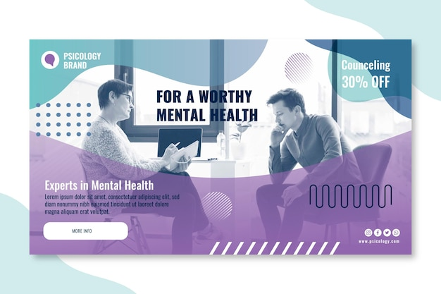 Sjabloon voor spandoek van psychologie consulting Gratis Vector