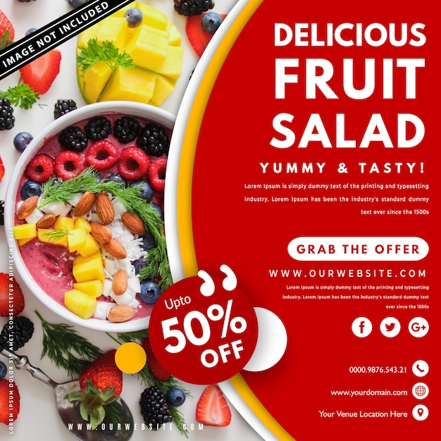 Sjabloon voor spandoek van voedsel met foto Premium Vector