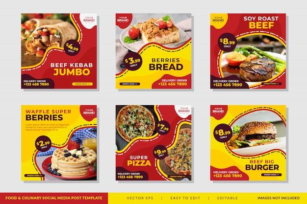 Sjabloon voor spandoek vierkante of flyer met voedsel en culinaire thema voor restaurants Premium Vector