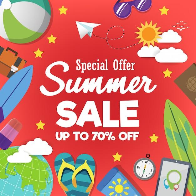 Sjabloon voor spandoek zomer super verkoop op kleur achtergrond. Premium Vector