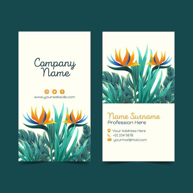 Sjabloon voor tropische visitekaartjes Premium Vector