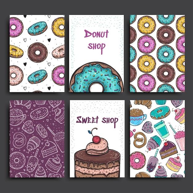 Sjabloon voor twee posters met donuts en taart. reclame voor bakkerijwinkel of café. Premium Vector