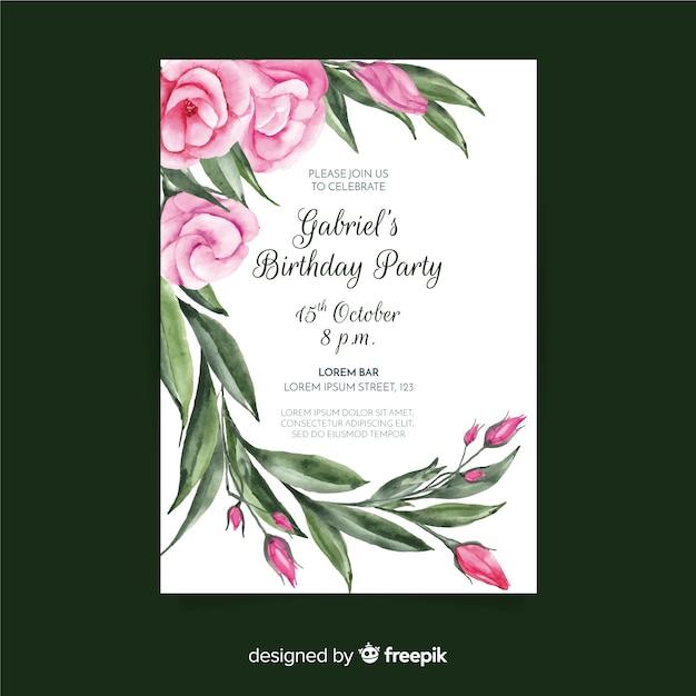 Sjabloon voor verjaardagsuitnodiging met bloemen concept Gratis Vector