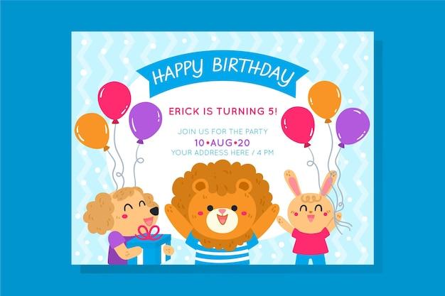 Sjabloon voor verjaardagsuitnodiging voor kinderen Gratis Vector