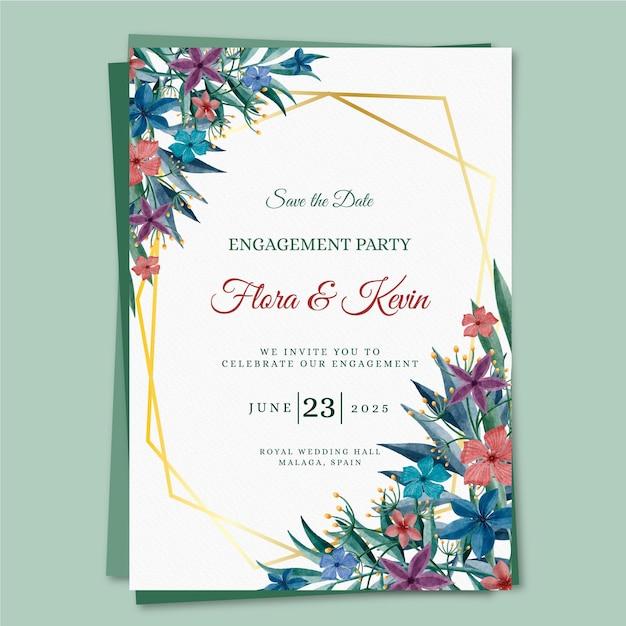 Sjabloon voor verlovingsuitnodiging met bloemmotieven Gratis Vector