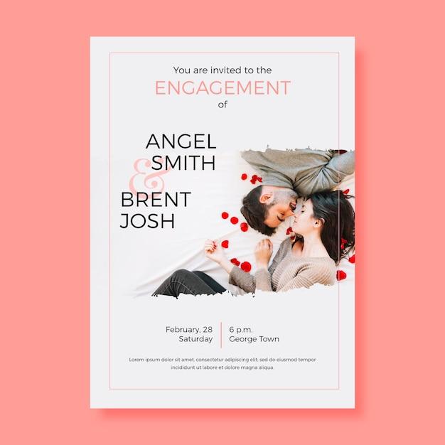 Sjabloon voor verlovingsuitnodiging met foto Gratis Vector