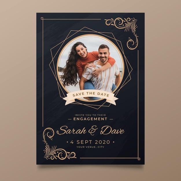 Sjabloon voor verlovingsuitnodiging met foto Premium Vector