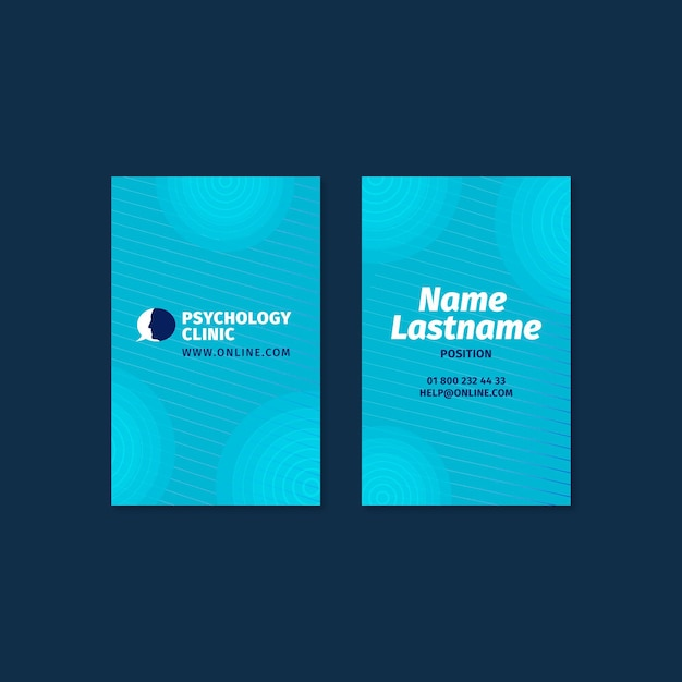 Sjabloon voor verticale dubbelzijdige visitekaartjes voor psychologietherapie Premium Vector