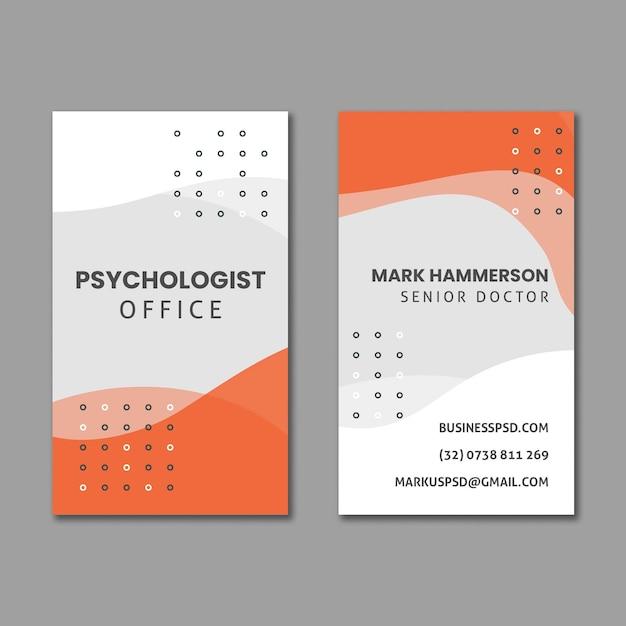 Sjabloon voor verticale visitekaartjes van psychologiebureau Premium Vector
