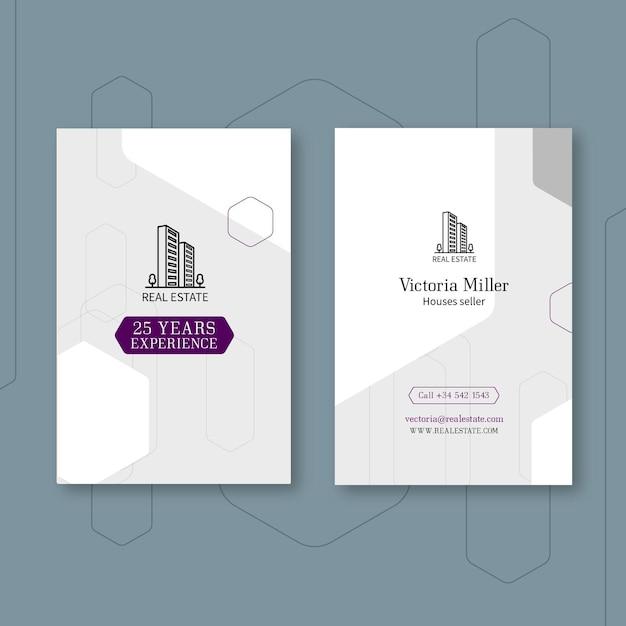 Sjabloon voor verticale visitekaartjes voor onroerend goed Premium Vector