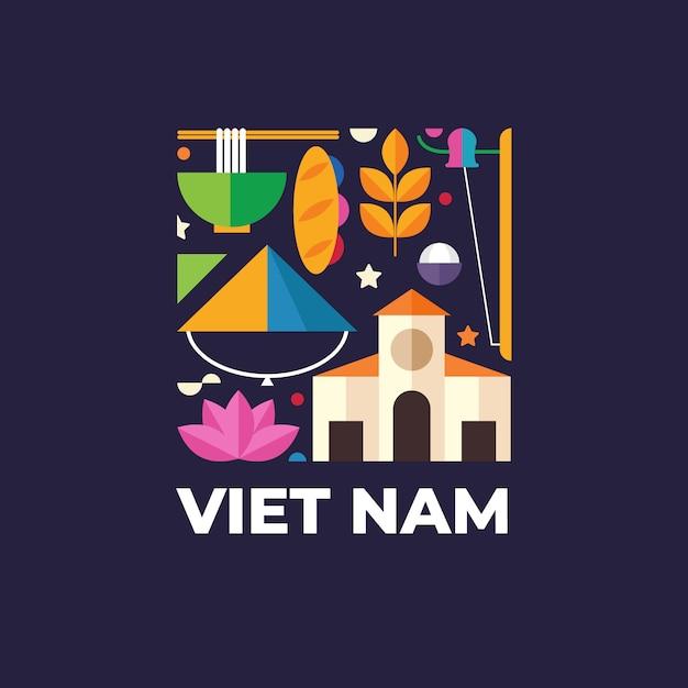Sjabloon voor vietnam-logo voor reizen naar het buitenland Premium Vector
