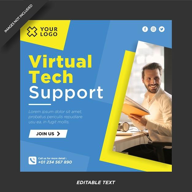 Sjabloon voor virtuele technische ondersteuning voor instagram en sociale media Premium Vector