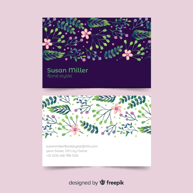 Sjabloon voor visitekaartjes aquarel bloemen Gratis Vector