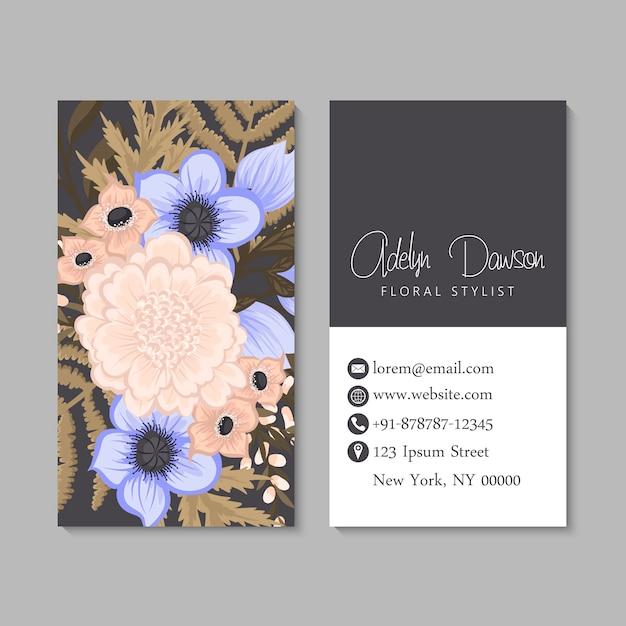 Sjabloon voor visitekaartjes bloemen Gratis Vector