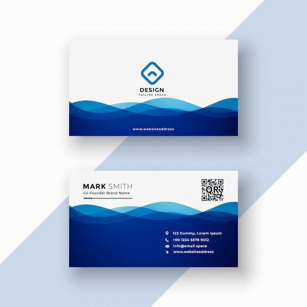 Sjabloon voor visitekaartjes in blauwe golvende stijl Gratis Vector
