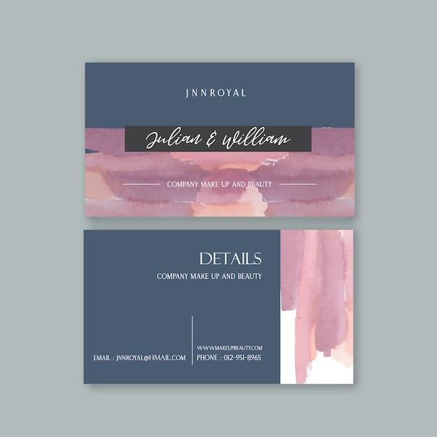 Sjabloon voor visitekaartjes met aquarel brustrokes Gratis Vector