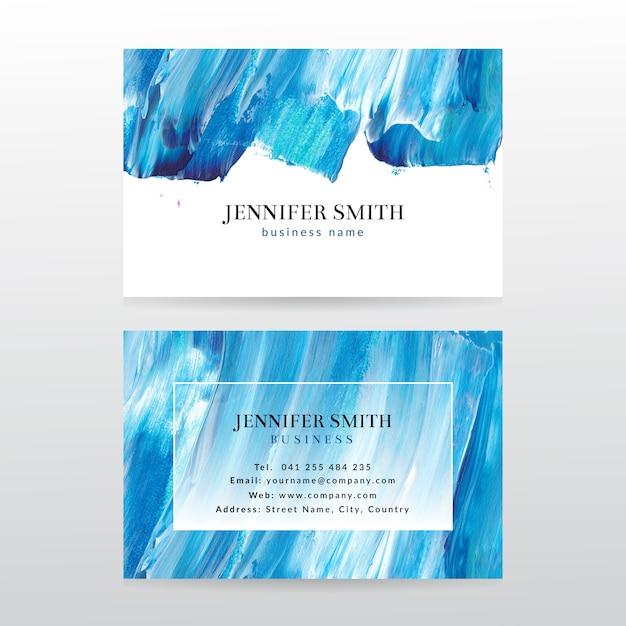 Sjabloon voor visitekaartjes met aquarel verf abstracte achtergrond Premium Vector