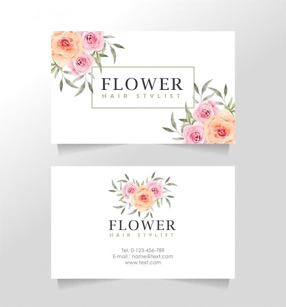 Sjabloon voor visitekaartjes met bloementhema voor bloemist Premium Vector