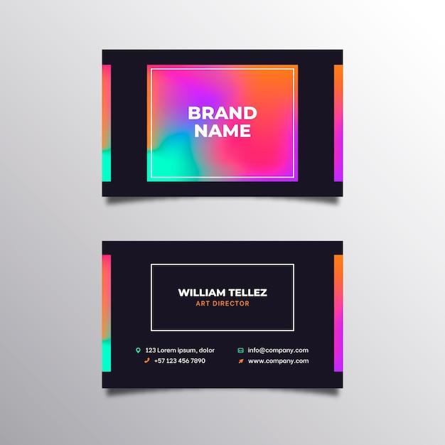 Sjabloon voor visitekaartjes met kleurovergang Premium Vector