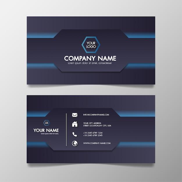 Sjabloon voor visitekaartjes moderne blauwe en zwarte creatief en schoon. Premium Vector