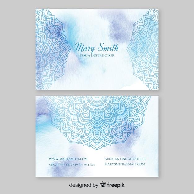 Sjabloon voor visitekaartjes van aquarel mandala Gratis Vector