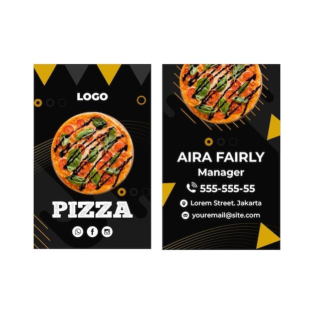 Sjabloon voor visitekaartjes van pizza restaurant Premium Vector