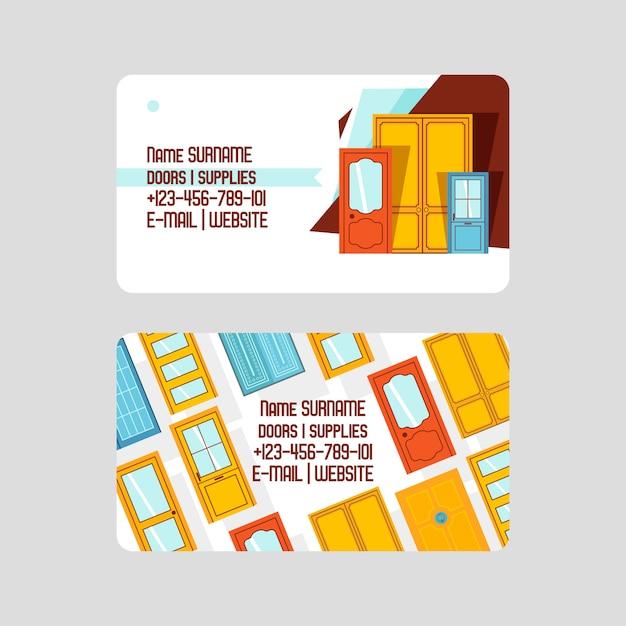 Sjabloon voor visitekaartjes. voordeuren voor huizen en gebouwen Premium Vector