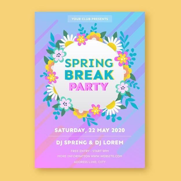 Sjabloon voor voorjaarsvakantie partij poster Gratis Vector