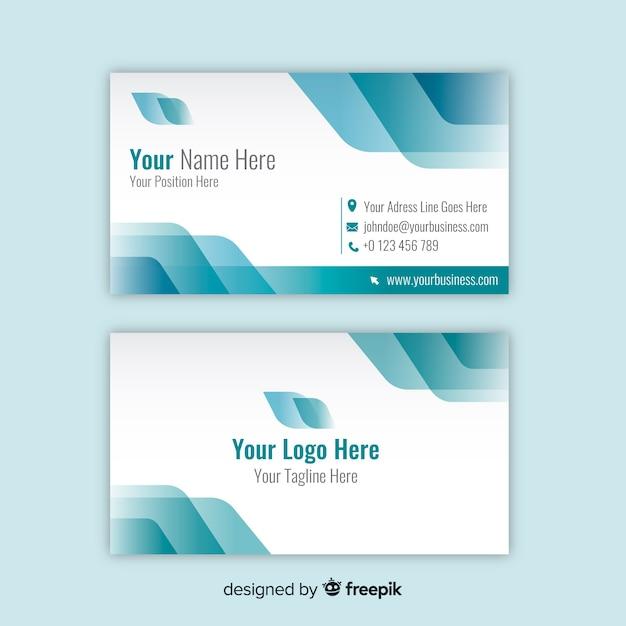 Sjabloon voor wit en blauw visitekaartjes met logo Gratis Vector