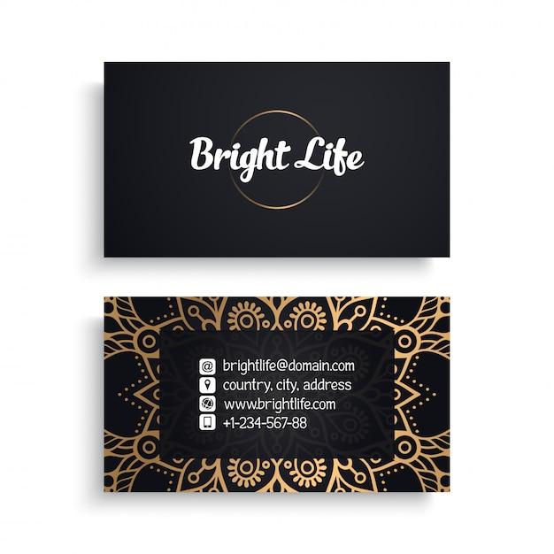 Sjabloon voor zakelijk visitekaartjes met etnische luxe design, boho-stijl Gratis Vector